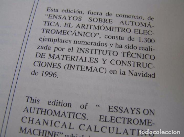 Documentos antiguos: L. TORRES QUEVEDO ENSAYOS SOBRE AUTOMÁTICA. EL ARITMÓMETRO ELECTROMECÁNICO - INTEMAC 1996 - Foto 41 - 76235959