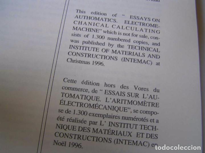 Documentos antiguos: L. TORRES QUEVEDO ENSAYOS SOBRE AUTOMÁTICA. EL ARITMÓMETRO ELECTROMECÁNICO - INTEMAC 1996 - Foto 42 - 76235959
