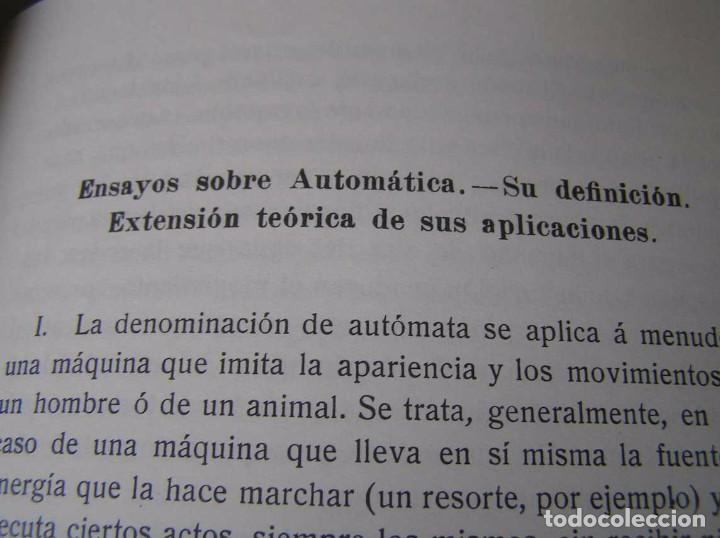 Documentos antiguos: L. TORRES QUEVEDO ENSAYOS SOBRE AUTOMÁTICA. EL ARITMÓMETRO ELECTROMECÁNICO - INTEMAC 1996 - Foto 62 - 76235959