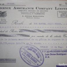 Documentos antiguos: RECIBO COMPAÑIA DE SEGUROS PHOENIX ASSURANCE COMPANY LIMITED - 1936 - LUIS BOTAS RODRÍGUEZ. Lote 76396603
