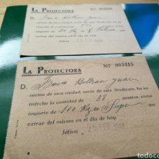 Documentos antiguos: DOS RECIBOS DE PAGO DEL SINDICATO LA PROTECTORA. JÁTIVA ( VALENCIA). 1944. Lote 76756997