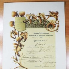 Documentos antiguos: DIPLOMA DE LA SOCIEDAD BARCELONESA PROTECTORA DE LOS ANIMALES Y PLANTAS 1908 A JOAQUIM AYME RABELL. Lote 77246869