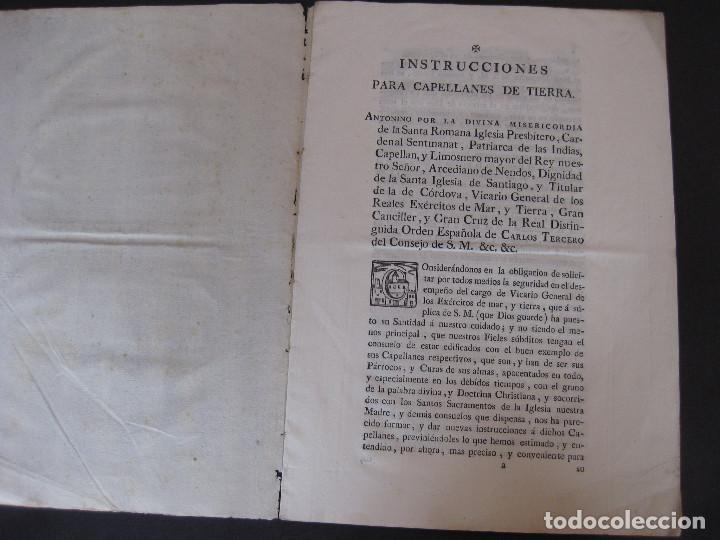 INSTRUCCIONES PARA LOS CAPELLANES DE TIERRA. AÑO 1784. (Coleccionismo - Documentos - Otros documentos)