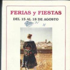 Documentos antiguos: FERIA Y FIESTAS - PROGRAMA.. Lote 77493409