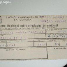 Documentos antiguos: IMPUESTO MUNICIPAL CIRCULACION DE VEHICULOS AYUNTAMIENTO DE LA CORULA 1976. Lote 77663377