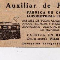 Documentos antigos: ANUNCIO COMPAÑIA AUXILIAR DE FERROCARRILES-CALZADOS FRANCISCO MARTINEZ-LABORATORIO ELECTROTECNICO. Lote 77738245