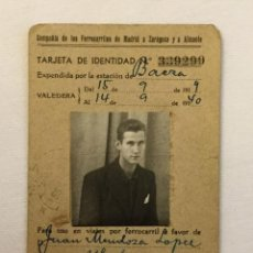 Documentos antiguos: TARJETA IDENTIDAD DE LA COMPAÑIA DE LOS FERROCARRILES DE MADRID A ZARAGOZA Y ALICANTE - 1939 - 1940. Lote 77747413