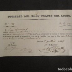 Documentos antiguos: SOCIEDAD GRAN TEATRO DEL LICEO - BARCELONA - RECIBO AÑO 1857 -VER FOTOS-(V-9359). Lote 78171513