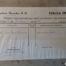 Documentos antiguos: PAPELERAS REUNIDAS BAÑERES. ALCOY ALICANTE 1958. Lote 78277145