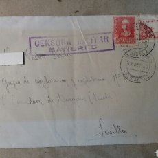 Documentos antiguos: CORREOS CENSURA MILITAR BAÑERES. ALICANTE. Lote 78277361