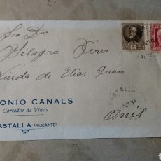 Documentos antiguos: CARTA. ANTONIO CANALS. CASTALLA.ALICANTE .REPÚBLICA 1934. Lote 78279291