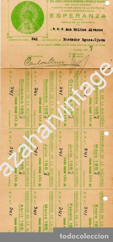SEMANA SANTA SEVILLA - HDAD DE LA MACARENA - RECIBOS DE PAGO CUOTA HERMANA DEL AÑO 1957 (Coleccionismo - Documentos - Otros documentos)