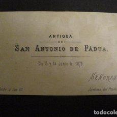 Documentos antiguos: INVITACION BAILE SIGLO XIX - ANTIGUA SAN ANTONIO DE PADUA -AÑO 1879 -VER FOTOS-(V-9544). Lote 78900309