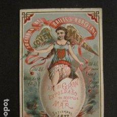 Documentos antiguos: INVITACION BAILE SIGLO XIX -SOCIEDAD JOVEN MERCED - BAILES MURALLA MAR AÑO 1877 -VER FOTOS-(V-9550). Lote 78902461
