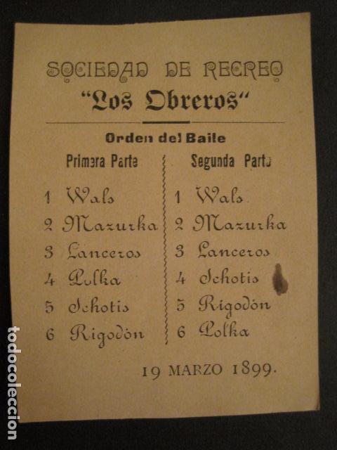 INVITACION BAILE SIGLO XIX - SOCIEDAD LOS OBREROS -AÑO 1899 -VER FOTOS-(V-9552) (Coleccionismo - Documentos - Otros documentos)