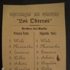 Documentos antiguos: INVITACION BAILE SIGLO XIX - SOCIEDAD LOS OBREROS -AÑO 1899 -VER FOTOS-(V-9552). Lote 78903197