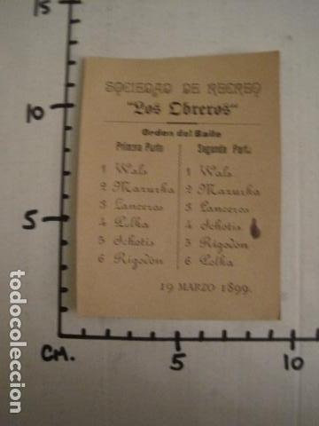 Documentos antiguos: INVITACION BAILE SIGLO XIX - SOCIEDAD LOS OBREROS -AÑO 1899 -VER FOTOS-(V-9552) - Foto 3 - 78903197