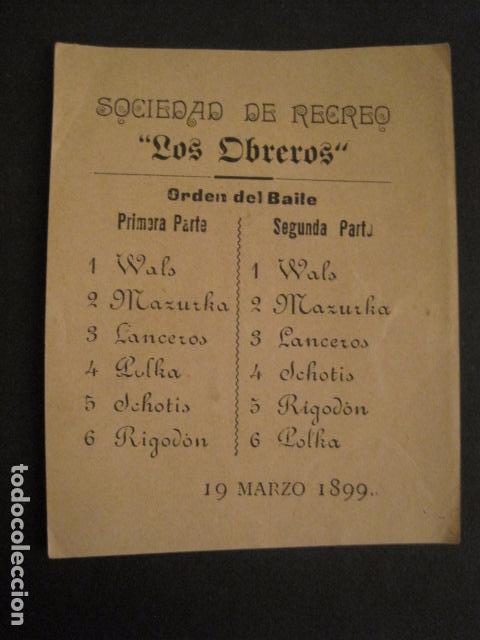 INVITACION BAILE SIGLO XIX - SOCIEDAD LOS OBREROS -AÑO 1899 -VER FOTOS-(V-9553) (Coleccionismo - Documentos - Otros documentos)