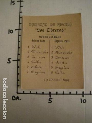 Documentos antiguos: INVITACION BAILE SIGLO XIX - SOCIEDAD LOS OBREROS -AÑO 1899 -VER FOTOS-(V-9553) - Foto 3 - 78903361