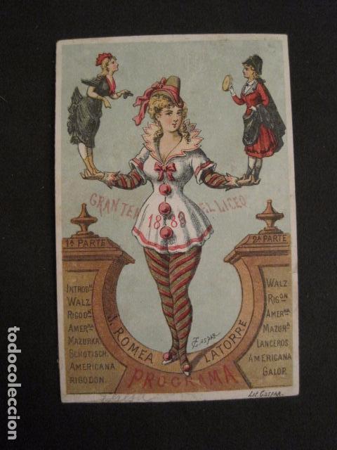 INVITACION BAILE SIGLO XIX - LICEO - LATORRE - AÑO 1880- -VER FOTOS-(V-9573) (Coleccionismo - Documentos - Otros documentos)