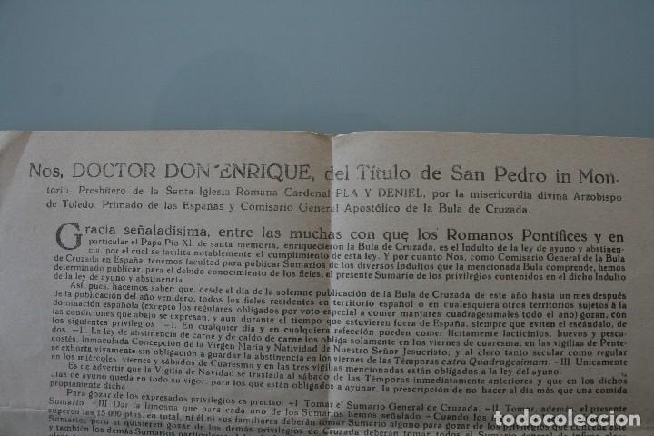 Documentos antiguos: DOCUMENTO INDULTO LEY AYUNO Y ABSTINENCIA 1963 – FIRMADO ARZOBISPO TOLEDO 1962 - CLASE 3ª - BULA - Foto 2 - 79159045