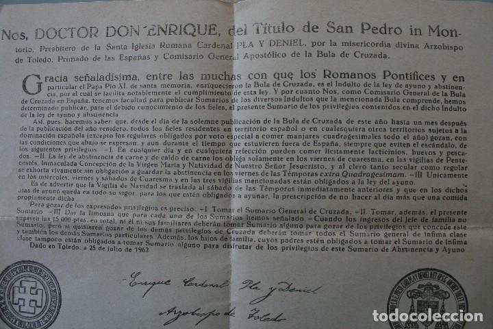 Documentos antiguos: DOCUMENTO INDULTO LEY AYUNO Y ABSTINENCIA 1963 – FIRMADO ARZOBISPO TOLEDO 1962 - CLASE 3ª - BULA - Foto 3 - 79159045