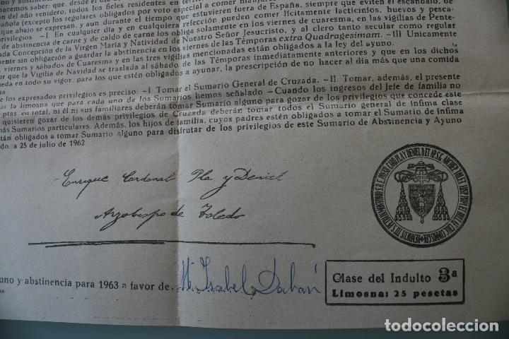 Documentos antiguos: DOCUMENTO INDULTO LEY AYUNO Y ABSTINENCIA 1963 – FIRMADO ARZOBISPO TOLEDO 1962 - CLASE 3ª - BULA - Foto 5 - 79159045