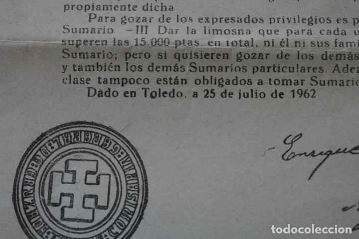 Documentos antiguos: DOCUMENTO INDULTO LEY AYUNO Y ABSTINENCIA 1963 – FIRMADO ARZOBISPO TOLEDO 1962 - CLASE 3ª - BULA - Foto 6 - 79159045
