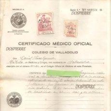 Documentos antiguos: CERTIFICADO MEDICO OFICIAL, COLEGIO DE VALLADOLID, 1936, . Lote 79276897