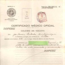 Documentos antiguos: CERTIFICADO MEDICO OFICIAL, COLEGIO DE VIZCAYA, 1932. Lote 79277057
