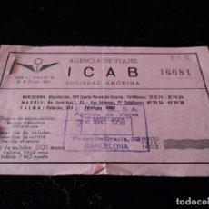 Documentos antiguos: AGENCIA DE VIAJES ICAB PASEO DE GRACIA TALON FERROVIARIO 1959. Lote 79628157