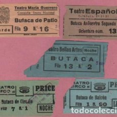 Documentos antiguos: LOTE DE 5 ENTRADAS DISTINTOS TEATROS - MARIA GUERREO BELLAS ARTES CIRCO LICEO -2- TEATRO ESPAÑOL. Lote 79866225
