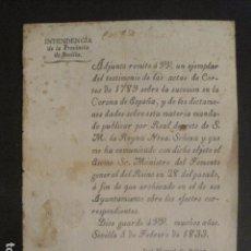 Documentos antiguos: DOCUMENTO INTENDENCIA PROVINCIA DE SEVILLA 5 FEBRERO 1833 - ACTAS SUCESION - VER FOTOS - (V-9730). Lote 80136057