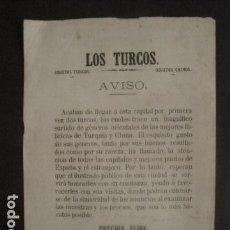 Documentos antiguos: LOS TURCOS - OBJETOS TURCOS - OBJETOS CHINOS - AVISOS - SIGLO XIX - VER FOTOS - (V-9732). Lote 80137121