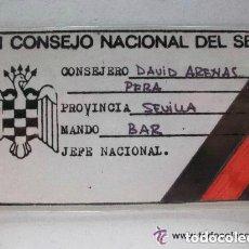 Documentos antiguos: FALANGE , CARNET DEL SINDICATO ESPAÑOL UNIVERSITARIO , XI CONSEJO NACIONAL DEL SEU.. Lote 80287885