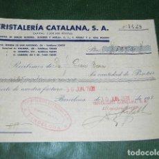 Documentos antiguos: RECIBO CRISTALERIA CATALANA, BARCELONA 1931. Lote 80367609