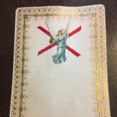 Documentos antiguos: ANTIGUO PAPEL DE CARTA MODERNISTA, PPPP CON RELIEVE. TAMAÑO CUARTILLA DOBLE. CROMO TROQUELADO ANGEL. Lote 80419537
