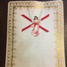 Documentos antiguos: ANTIGUO PAPEL DE CARTA MODERNISTA, PPPP CON RELIEVE. TAMAÑO CUARTILLA DOBLE. CROMO TROQUELADO ANGEL. Lote 80419697