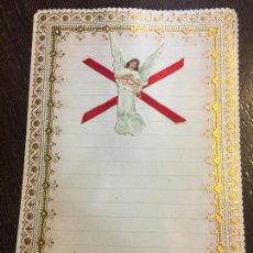 Documentos antiguos: ANTIGUO PAPEL DE CARTA MODERNISTA, PPPP CON RELIEVE. TAMAÑO CUARTILLA DOBLE. CROMO TROQUELADO ANGEL. Lote 80419937