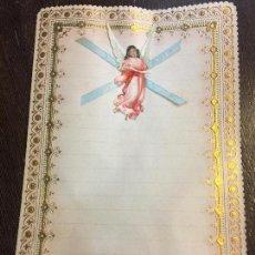 Documentos antiguos: ANTIGUO PAPEL DE CARTA MODERNISTA, PPPP CON RELIEVE. TAMAÑO CUARTILLA DOBLE. CROMO TROQUELADO ANGEL. Lote 80420165