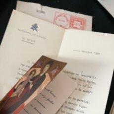 Documentos antiguos: POSTAL CON ORACIÓN DEL PAPA PABLO VI Y CARTA DE FELICITACION DE LA SECRETARIA DE ESTADO FIRMADA.1969. Lote 80814311