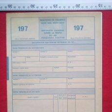 Documentos antiguos: IMPRESO PARA LA DECLARACION DE RENTA AÑOS 70 HOJAS F G H I J K Y L 150 GRS . Lote 80815275