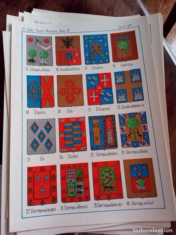 Documentos antiguos: HERALDICA-ESCUDO APELLIDOS-COLOR-30 LAMINAS DISTINTAS-SOLAR VASCO NAVARRO-SILVA-OREA-ALBA-RON-OLMEDO - Foto 7 - 81031124