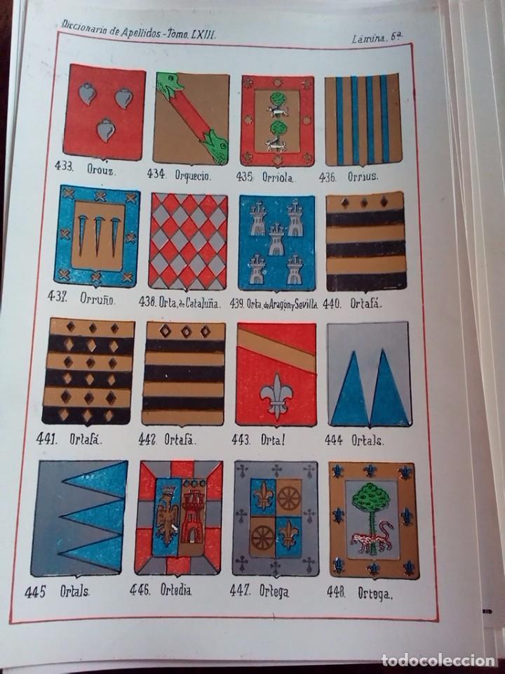 Documentos antiguos: HERALDICA-ESCUDO APELLIDOS-COLOR-30 LAMINAS DISTINTAS-SOLAR VASCO NAVARRO-SILVA-OREA-ALBA-RON-OLMEDO - Foto 15 - 81031124