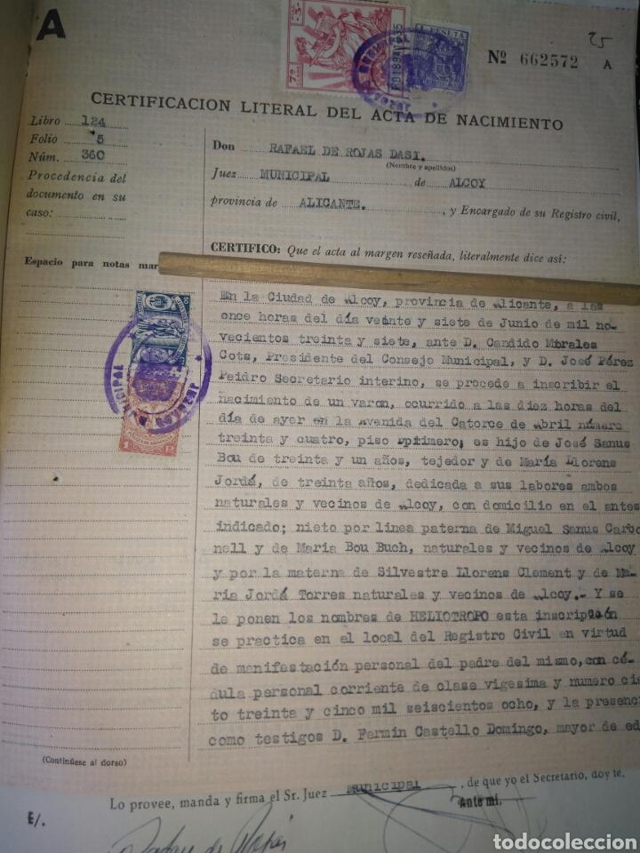 solicitud cambio de nombre alcoy 1951- partida - Comprar en ...