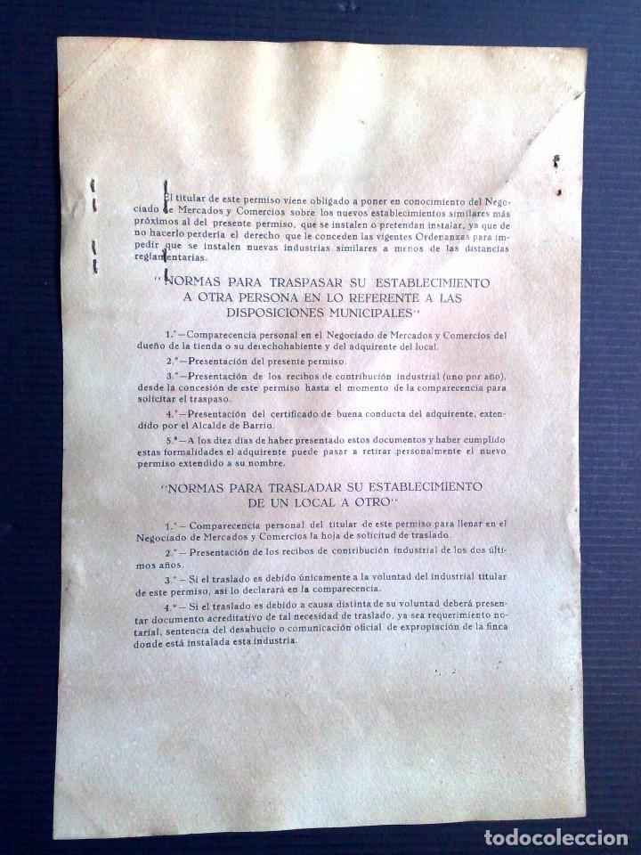Documentos antiguos: LICENCIA APERTURA ESTABLECIMIENTO DE HOSTELERIA ( EXPEDIDO1949) AYUNTAMIENTO DE BARCELONA (DESCRIPCI - Foto 7 - 81185816