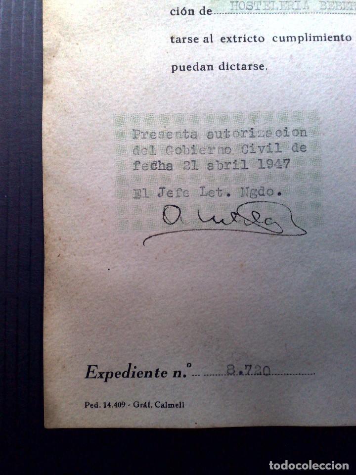 Documentos antiguos: LICENCIA APERTURA ESTABLECIMIENTO DE HOSTELERIA ( EXPEDIDO1949) AYUNTAMIENTO DE BARCELONA (DESCRIPCI - Foto 6 - 81185816