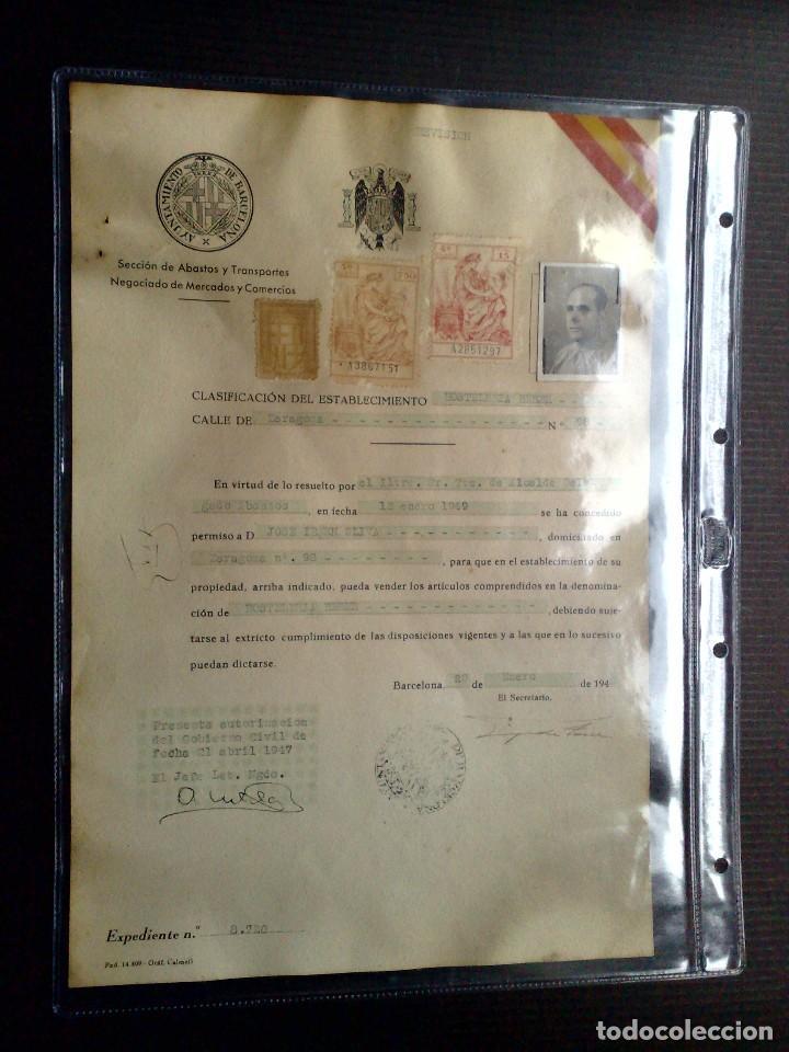 LICENCIA APERTURA ESTABLECIMIENTO DE HOSTELERIA ( EXPEDIDO1949) AYUNTAMIENTO DE BARCELONA (DESCRIPCI (Coleccionismo - Documentos - Otros documentos)