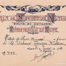Documentos antiguos: CAJA DE SOCORROS MUTUOS INTERVENCIÓN EN RUTA 1949 MADRID. Lote 81226928