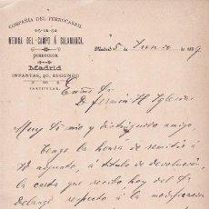 Documentos antigos: COMPAÑIA DEL FERROCARRIL MADINA DEL CAMPO A SALAMANCA MADRID 1899. Lote 81278600